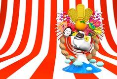 Weiße Schafe, neues Jahr-Dekoration und Berg auf Streifen-Text-Raum Stockfotografie
