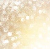 Weiße Silber und Goldabstrakte bokeh Lichter Defocused Hintergrund Stockbild