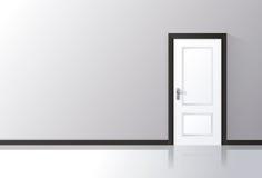 wei e t r geschlossen auf einer grauen wand t rgriff reflektierend auf dem boden vektor. Black Bedroom Furniture Sets. Home Design Ideas
