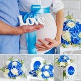 Weiße und blaue Schwangerschaftscollage Stockfotos