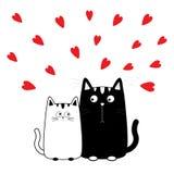 Weißer Katzenjunge und -mädchen des netten Karikaturschwarzen Miezekatzepaare auf Datum Großer Schnurrbartbart Lustiger Zeichensa Lizenzfreies Stockbild