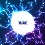 Weißer Kreisrahmen des glänzenden elektrischen Blitzes Lizenzfreies Stockbild
