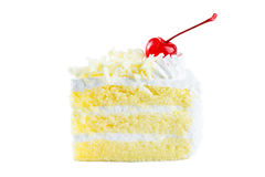 Weißer Kuchen köstlich, Vanillekuchenbelag mit weißer Schokolade Lizenzfreie Stockfotografie