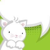 Weißer netter kleiner Miezekatzegrünhintergrund Lizenzfreies Stockfoto