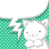 Weißer netter kleiner Miezekatzemarinehintergrund Stockfoto