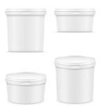 Weißer Plastikbehälter für Eiscreme- oder Nachtischvektor illustra Stockbilder