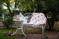 Weißer Porzellansatz für Tee oder Kaffee auf Tabelle im Garten über Unschärfegrün-Naturhintergrund Partei des Sommers im Freien Stockfotos