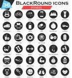 Weißer schwarzer Ikonensatz des Vektorsport Eignungskreises Ultra modernes Ikonendesign für Netz Lizenzfreies Stockfoto