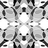 Weißer und schwarzer geometrischer Mosaikhintergrund mit ausgebrüteten Fragmenten, Vektor kopierte Fliese Lizenzfreie Stockfotos