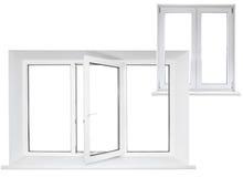 Weißes dreifaches Türplastikfenster mit doppelter Tür in der Kette Stockbild