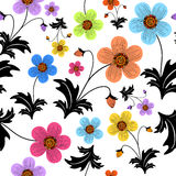 Weißes nahtloses Blumenmuster Stockfotos