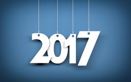 Weißes Wort 2017 auf blauem Hintergrund Abbildung des neuen Jahres Lizenzfreies Stockbild