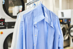 Weigh clean shirts on hangers. In the Laundry room Royalty Free Stock Photography