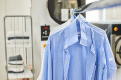 Weigh clean shirts on hangers. In the Laundry room Royalty Free Stock Image