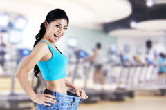 Weigh loss diet. Expression of happy asian woman success to diet Stock Photos