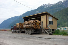 Weigh station for logs at the port of stewart. Royalty Free Stock Photos