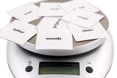 Weigh your words stock photo