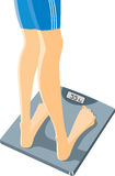 Weighing. Measurement of weight of a body royalty free illustration