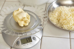Weighing bread dough. Using electronic scales Stock Images