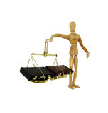 Weighing business decisions. Brass and wood Scale used to weigh small items, leather briefcases used to carry items to the office, wooden model representing a Royalty Free Stock Image