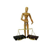 Weighing business decisions. Brass and wood Scale used to weigh small items, leather briefcase used to carry items to the office Stock Images