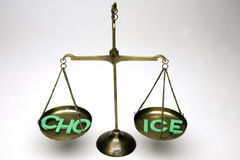 Weighing Choice. Balance scales weighing the word CHOICE Stock Photos