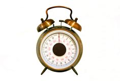 Weighing clock. Alarm clock with weighing scales for the face Royalty Free Stock Image
