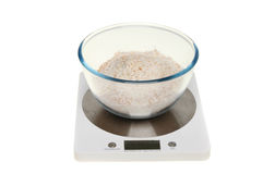 Weighing flour Royalty Free Stock Photos