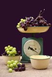 Weighing grapes on vintage scales. Royalty Free Stock Image