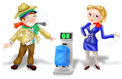 Weighing of luggage. Humorous illustration of man with layers of clothing at the weighing of luggage Stock Photography
