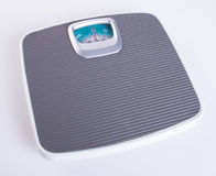 weighing machine or Retro style weighing machine on background. Stock Photo