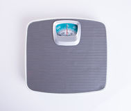 Weighing machine or Retro style weighing machine on background. Weighing machine or Retro style weighing machine on background royalty free stock image