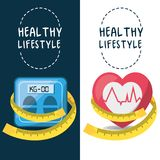 Weighing mashine, heartbeat and measuring to carry healthy lifestyle. Vector illustration Stock Photography