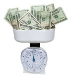 Weighing Money Stock Image
