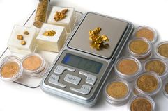 Free Weighing Of Gold Stock Photos - 30353003