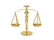 Weighing scale. 3d rendering of gold weighing scale on white backgound. Can be used as medical equiipment, as far as can be a symbol of justice or fair trade Stock Images