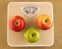 Weighing scale with apples. Diet and weight loss concept with weighing scale and apples Stock Image
