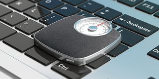 Weighing scale on a computer. 3d illustration. Weight control concept. Bathroom scale on a computer keyboard, view from above. 3d illustration Royalty Free Stock Photos