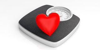 Weighing scale and a red heart isolated on white background. 3d illustration. Weight control concept. Bathroom scale and a red heart isolated on white background Stock Photography