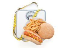 Weighing scales bad diet Stock Photos