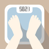Weighing yourself icon with long shadow. With digital digit weighing apparatus Stock Image