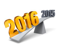 2016 Weighs In!. Bright, gold 2016 weighs one end of a gray balance beam down while a gray 2015 sits high in the air on the other end. Focus is on 2016. Isolated Royalty Free Stock Photo