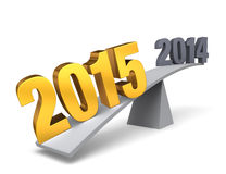2015 Weighs In!. Bright, gold 2015 weighs one end of a gray balance beam down while a gray 2014 sits high in the air on the other end. on white vector illustration