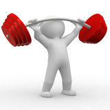 Weight. 3d human lift some heavy weights Stock Photos