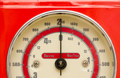 Weight. Closeup of dial on Red food scale showing no weight Royalty Free Stock Photography