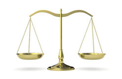 Weight balance. Front view of a classic weight balance, symbol of justice (3d render Stock Photography