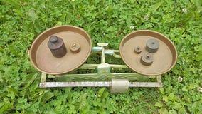 Weight balance measurement tool of history. Stock Photo