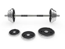 Weight barbell disposed horizontally Stock Photo