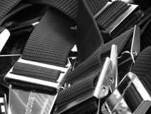 Weight belts. These heaped empty weight belts would be useful as a texture or background and is particularly aimed at the sporting, leisure and travel industries Royalty Free Stock Photo