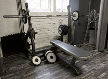 Weight bench in a gym Stock Image